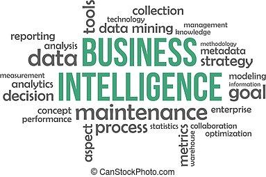 -, affari, intelligenza, parola, nuvola