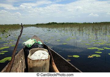 -, afrikas, fischerdorf, schwimmend, uganda