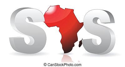 -, afrique, /, sos, vecteur, sauver