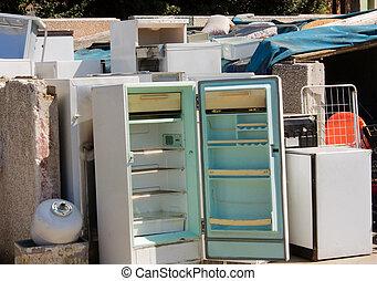 -, afval, fridges, kapot, gazardous
