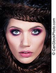 -, agréable, gentil, cheveux brun, girl, photo, portrait, modèle, jeune