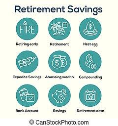 -, ahorros, más, bolsas, dinero, retiro, conjunto, huevo, calendario, icono, nido