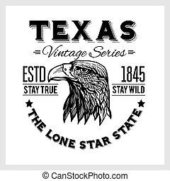 -, aigle, texas, vendange, typographie, tête