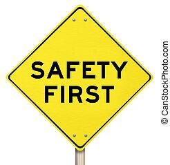 -, aislado, signo amarillo, advertencia, seguridad primero