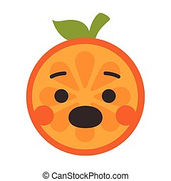 -, aislado, vector., naranja, smile., grito, emoji