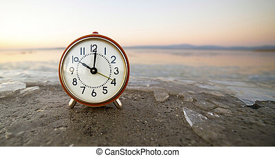 -, alarma, tiempo, bandera, reloj