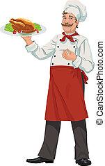 -, allegro, illustrazione, chef