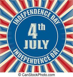 -, amerikai, 4, retro, július, jelvény, nap, szabadság