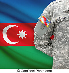 -, amerikai, azerbajdzsán, katona, lobogó, háttér