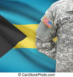 -, amerikai, bahamas, katona, lobogó, háttér
