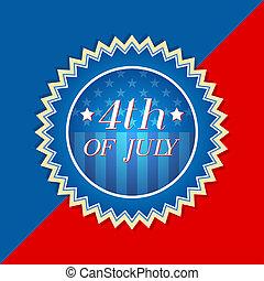 -, amerikai, címke, lobogó, 4, retro, július