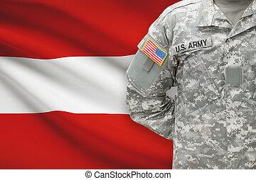 -, amerikai, katona, ausztria, háttér, lobogó