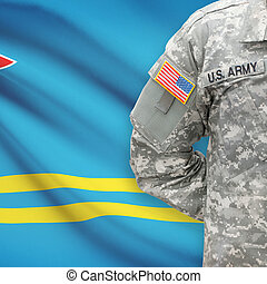 -, amerikai, katona, lobogó, aruba, háttér