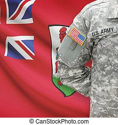 -, amerikai, katona, lobogó, bermuda, háttér