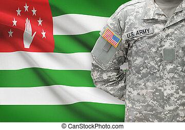 -, amerikai, katona, lobogó, háttér, abkhazia