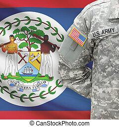 -, amerikai, katona, lobogó, háttér, belize