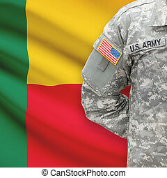 -, amerikai, katona, lobogó, háttér, benin