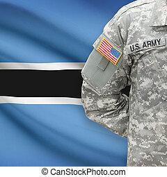 -, amerikai, katona, lobogó, háttér, botswana