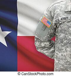 -, amerikai, katona, lobogó, háttér, texas