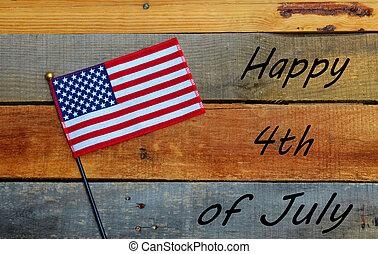 -, amerikan flagga, 4th juli, lycklig