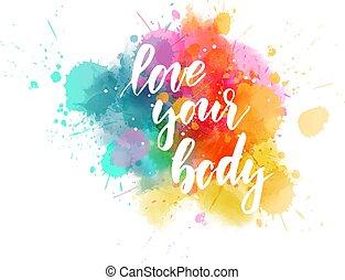 -, amor, mensaje, cuerpo, de motivación, su