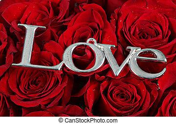 -, amour, rouges, mot, roses