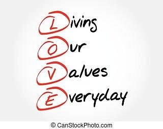 -, amour, valeurs, vivant, journalier, notre
