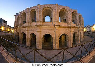 -, amphitheater, 法国, 罗马人, arles, 南方
