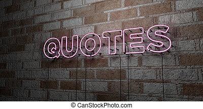-, anföres, neon signera, vägg, stenarbete, glödande