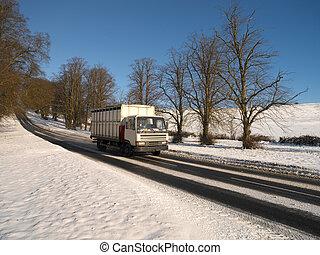 -, angleterre, hiver, conduite