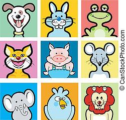 -, animales, avatars, caricatura