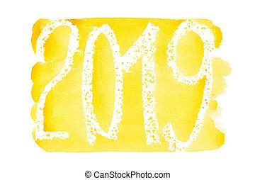 -, année, nouveau, aquarelle, 2019, jaune, lettrage