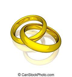 -, anneaux, or, mariage