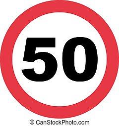 -, anniversaire, trafic, 50th, signe