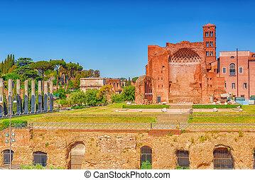 -, ansicht, archäologisch, historische , tempel, vereint, forum., römisches , name, rom, roma, gegenstände, venus