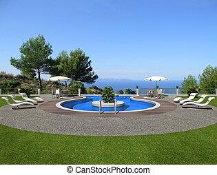 -, ansicht, schwimmender, schöne , teich, terrasse, übertragung, meer