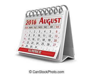 -, août, 2016, calendrier