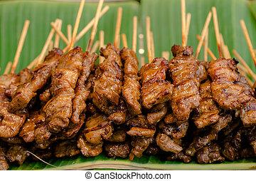 -, aperitivo, parrilla, tailandia, barbacoa, comida, asia