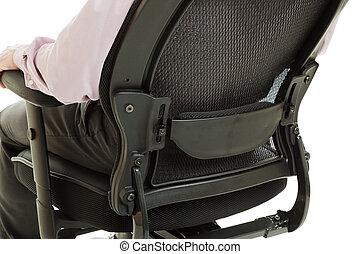 -, apoyo, silla, madera, ergonómico