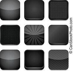 -, app, fekete, ikonok