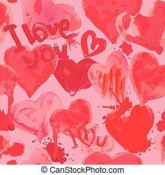 -, aquarelle, modèle, valentines, cœurs, grunge, amour, mots, vous, jour, seamless, arrière-plan.