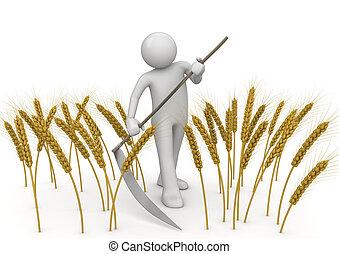 -, arbetare, lantbruk, kollektion, slåttermaskin