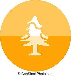 -, arbre, neige, pin, cercle, icône