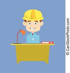 -, architekt, inżynier, laptop, pracujący, budowniczy