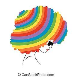 -, arco íris, abstratos, illustrati, cabelo