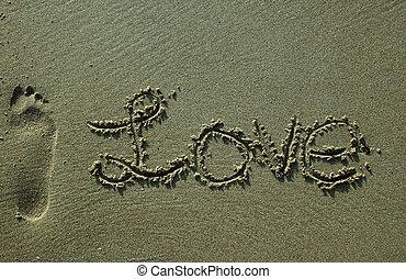 -, areia, amor, escrita