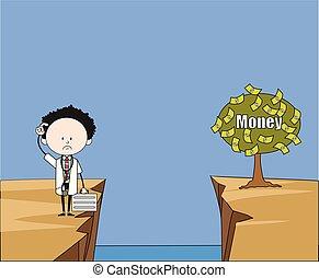-, argent, dessin animé, portée, comment, docteur, fin, pensée, plante