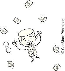 -, argent, gynécologue, sauter, docteur, excitation