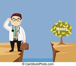 -, argent, portée, dermatologue, comment, docteur, fin, pensée, plante