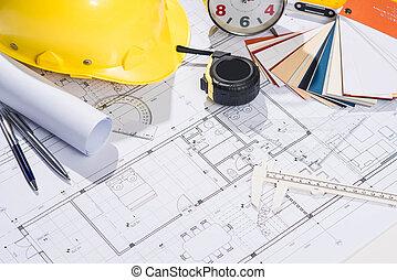 -, arquitectos, proyecto, lugar de trabajo, arquitectónico, blueprints.